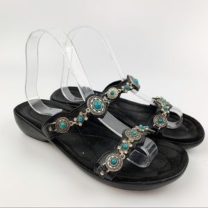 MINNETONKA Black Leather Slide Sandals Turquoise 7